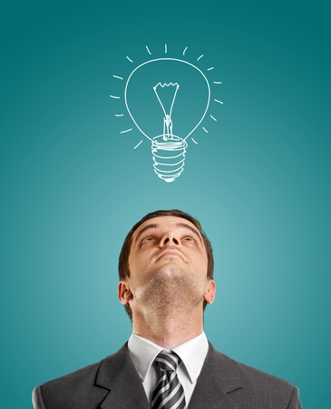 idea concept with businessman looking upwards, with suit and necktie Stock Photo - 12061248