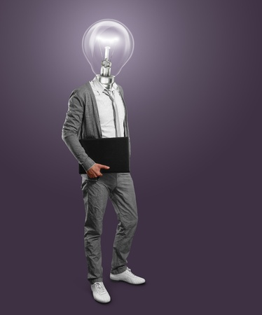 lamp head businessman with laptop in his hands Stock Photo - 12061247
