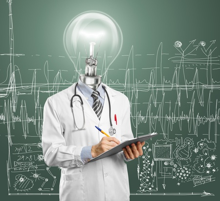 lamphead doctor writing something on clipboard Stock Photo - 12251540