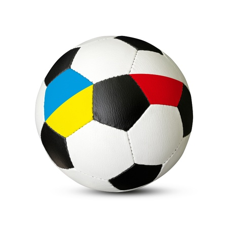 Soccer ball, Euro 2012 concept, ball with Ukraine and Poland flags, isolated on white background photo