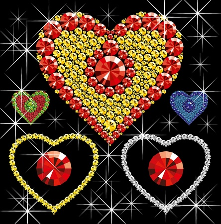 rnb: Vector diamond hearts of different color on black background Illustration