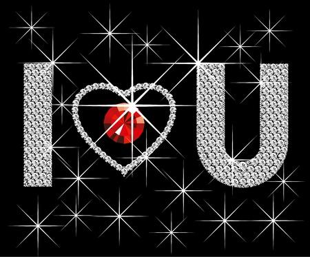 Liefde concept, vector diamant woorden Ik hou van je, met hart