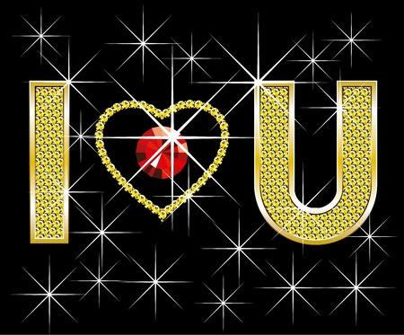 brillant: Liebe Konzept, Vektor-Diamant Worte Ich liebe dich, mit Herz Illustration