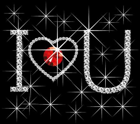 brilliant heart: Love concept, vector diamond words I love you, with heart