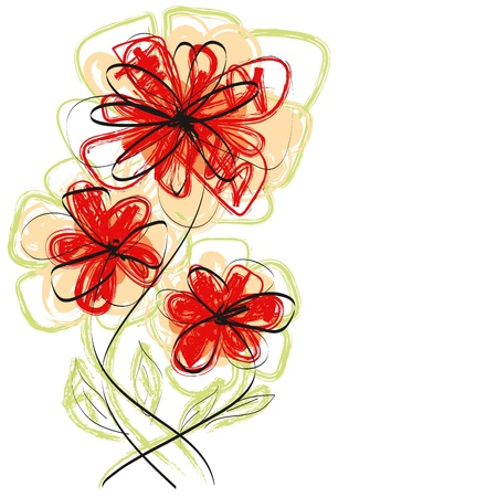 Vector flowers, hand made sketch with water color brush style