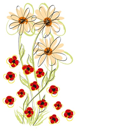 Vector flowers, hand made sketch with water color brush style  Vector