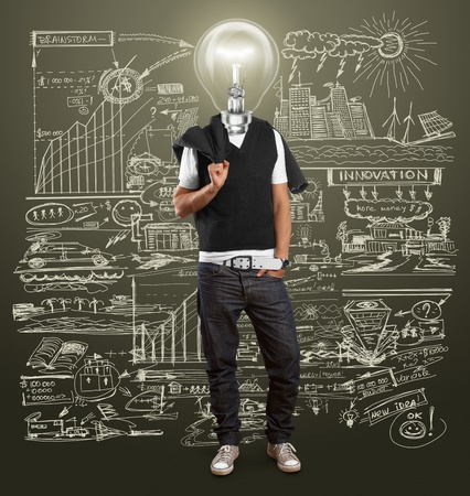 lamp head man have got an idea Stock Photo - 12547531