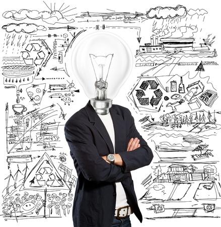 アイデアの概念、ランプ ヘッド ビジネスマンはアイデアを持っています。 報道画像