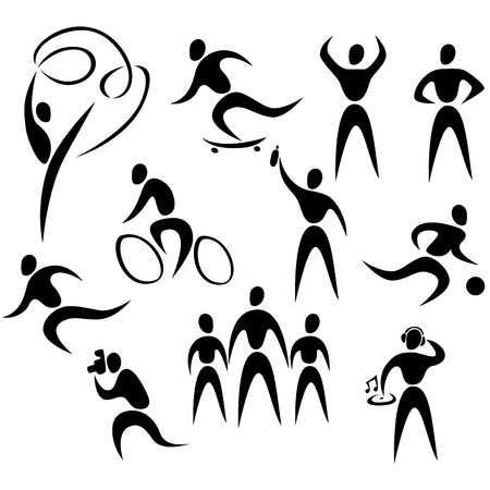 Vector icons of active healthy people Vector