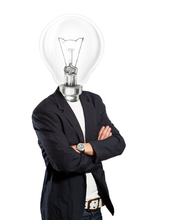 Idea concept, lamp head businessman have got an idea Stock Photo - 12746025