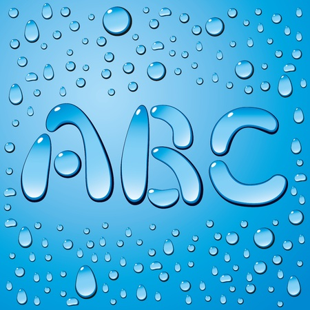 letter alphabet: set of water drops letters on blue background