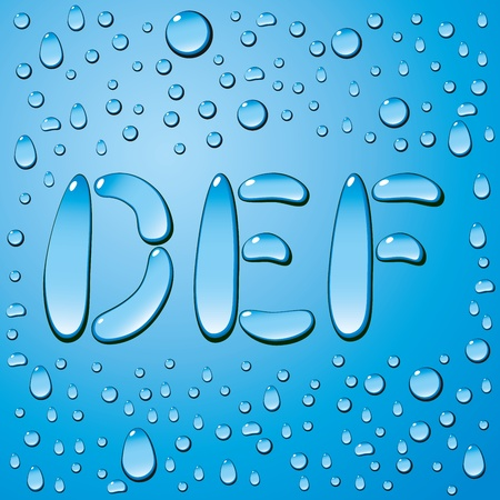set of water drops letters on blue background Stock Vector - 12746074