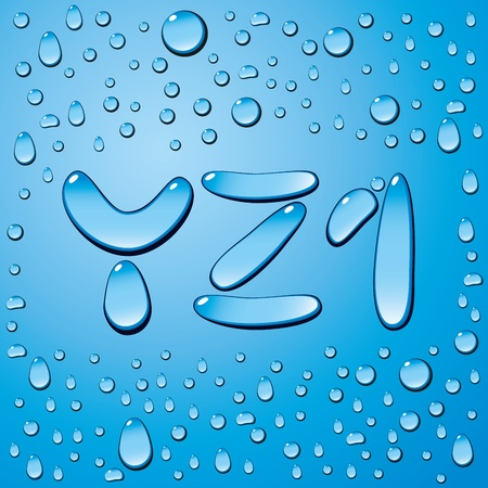 wetness: Vector set of water drops letters on blue background