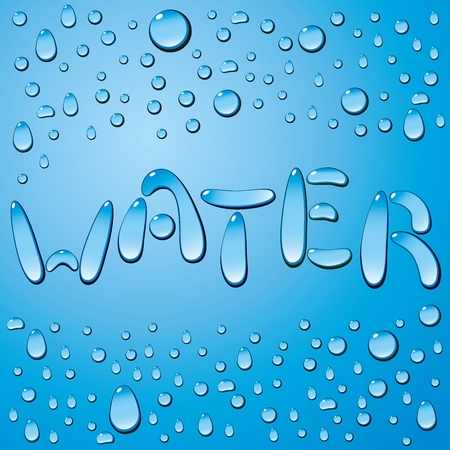pure water: water drops word Water on blue background Illustration
