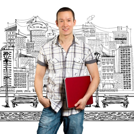 彼の手にノート パソコンとカメラのアジア男
