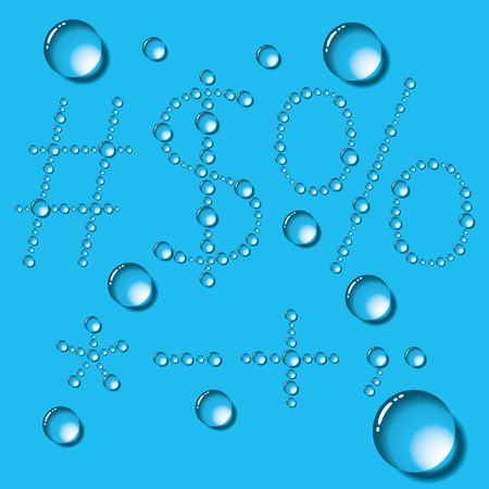 humid: set of water drops letters on blue background