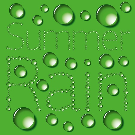 Water drops words on green background Vector