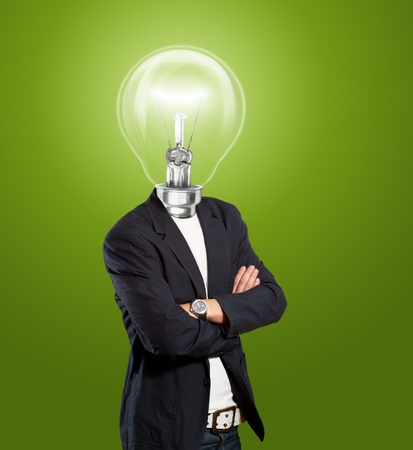 Idea concept, lamp head businessman have got an idea photo