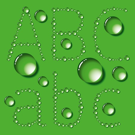 Vector set of water drops letters on green background Stock Vector - 13449318