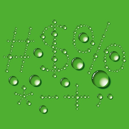 Vector set of water drops letters on green background Vector