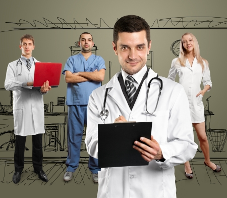 Doctor man with stethoscope and clipboard with his employee photo