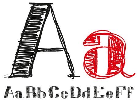 grafite: Vector set of sketch letters, handmade Ilustração