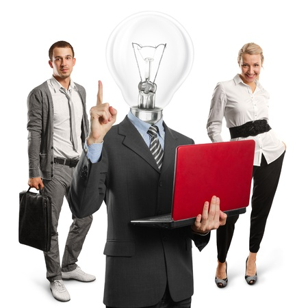 Lamp head man with laptop and business team Stock Photo - 13698367