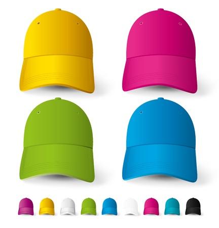 ベクトル野球帽、さまざまな色の大きなセット  イラスト・ベクター素材