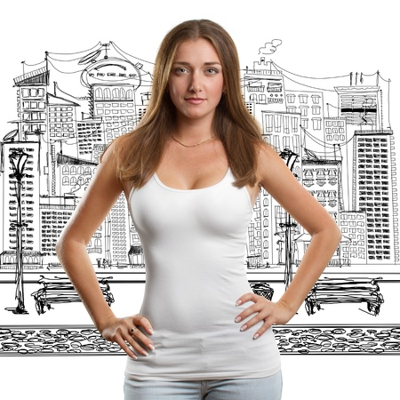 Woman in white empty undershirt looking on camera photo