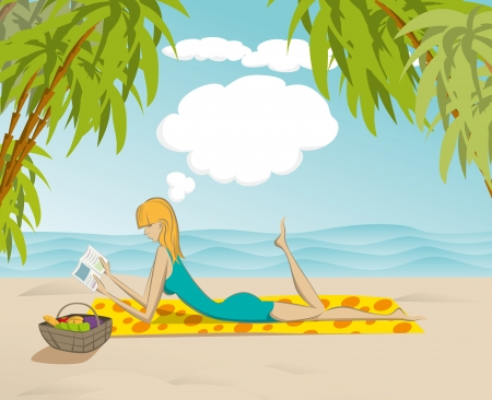 cute woman reading the book on the beach, and dreaming Vector