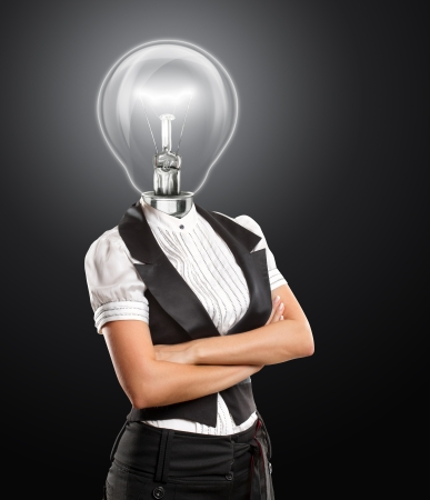 lady with the lamp: Idea concept, lamp head business woman have got an idea Stock Photo