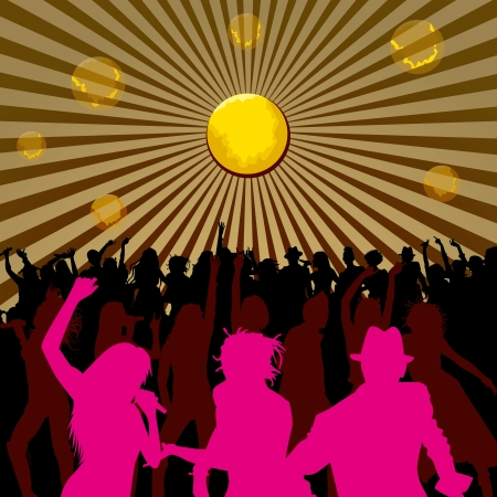 Disco concept, people silhouettes, dancing and singing Vector