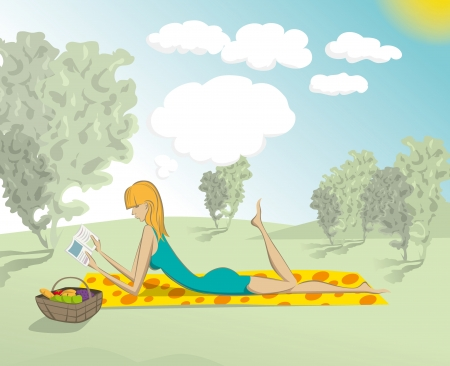 cute woman reading the book outdoors, and dreaming Vector