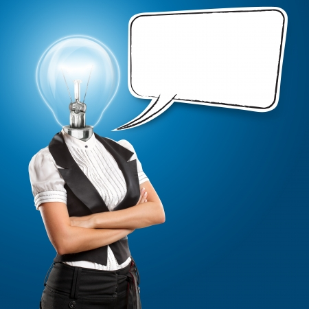 Idea concept, lamp head business woman with speech bubble photo