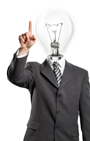 Lamp head business man push the button on virtual touch pad Stock Photo - 14114399