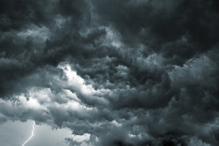 Beautiful storm sky with clouds, apocalypse like Stock Photo