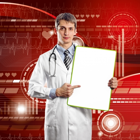 Doctor man with write board in his hands photo