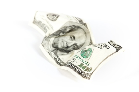 one hundred dollars: Abstract dollars concept background against white, one hundred dollars Stock Photo