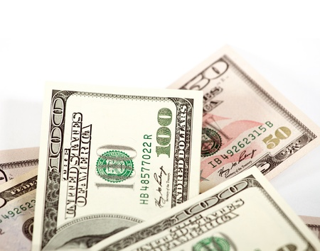 one hundred dollars: Abstract dollars concept against white, background with one hundred dollars Stock Photo