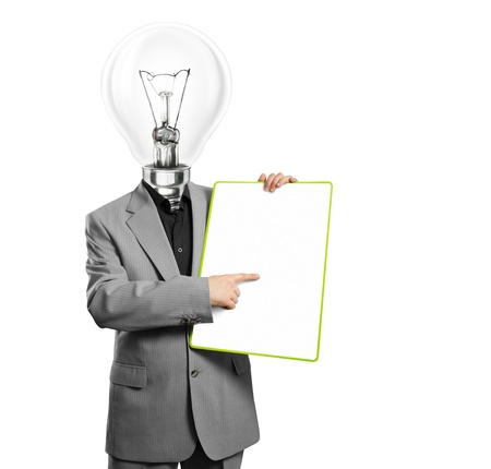 Lamp head businessman holding empty write board in his hands photo