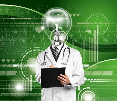 Lamp Head Doctor man with stethoscope against different backgrounds Stock Photo - 14343718