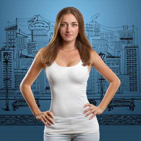 undershirt: Woman in white empty undershirt looking on camera