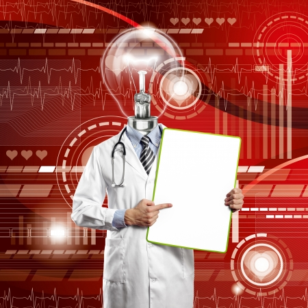 Lamp Head Doctor man with empty board against different backgrounds Stock Photo - 14523789