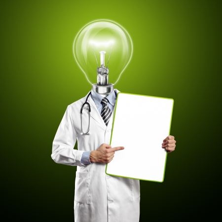 Lamp Head Doctor man with empty board against different backgrounds Stock Photo - 14523785