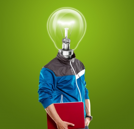 Lamp Head man with laptop, listening to the music photo