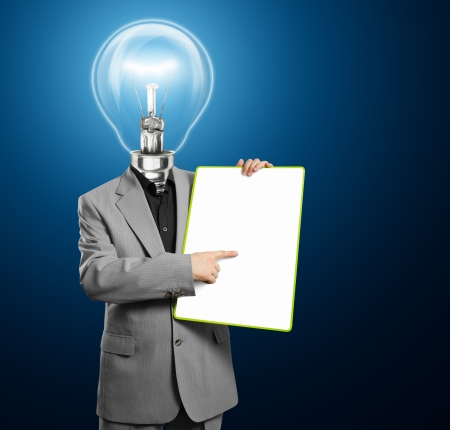 Lamp head businessman holding empty write board in his hands Stock Photo - 14731518