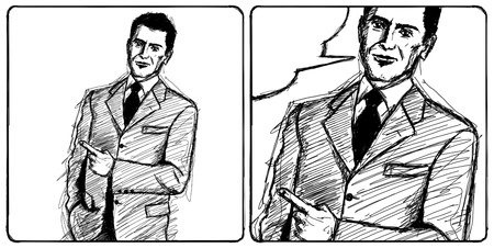 Sketch, comics style business man shows something with his finger photo