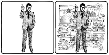 Sketch, comics style male businessman in suit, looking on camera Stock Photo - 14731527