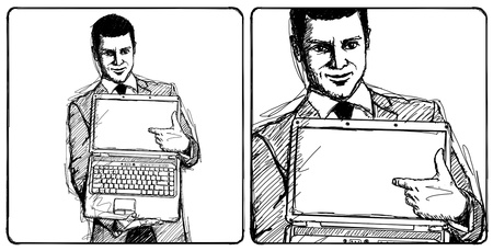 Sketch, comics style businessman with open laptop in his hands, smiles at camera Stock Photo - 14731516