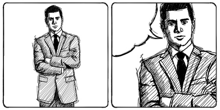 folded hands: Sketch, comics style man businessman in suit, with folded hands, looking on camera